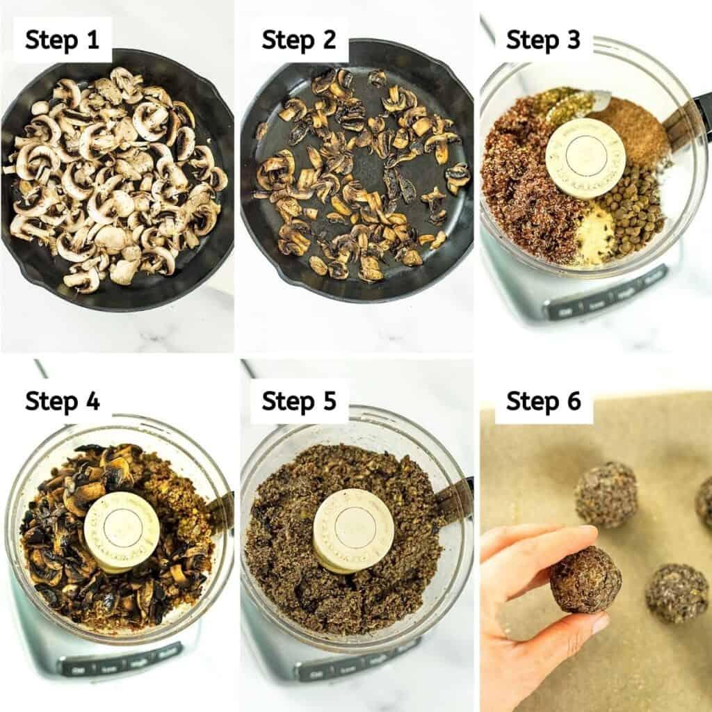 Steps 1-6 on how to make quinoa lentil mushroom meatballs.