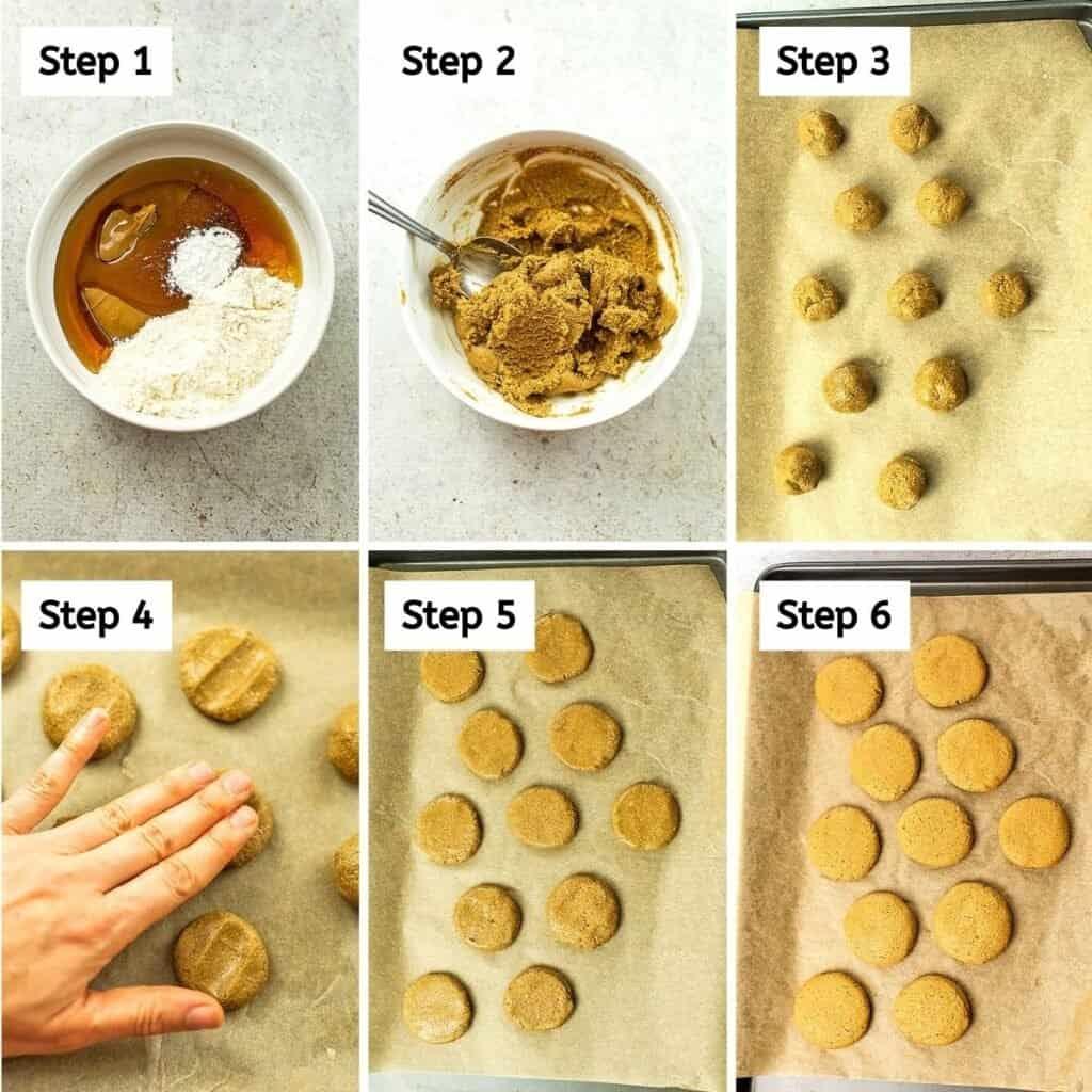 Steps to make sunbutter cookie (6 steps).