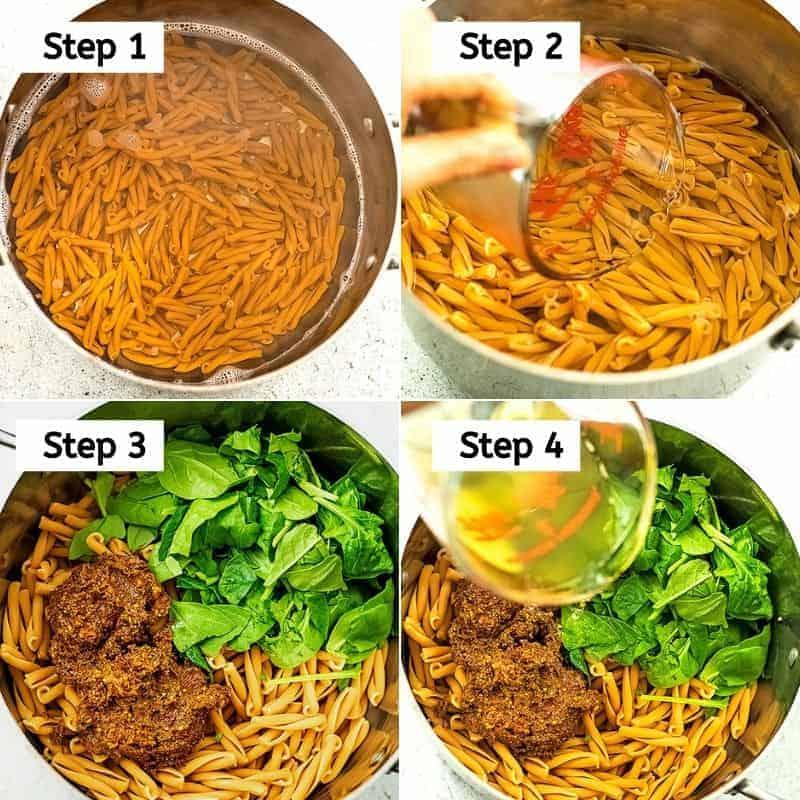 Steps to make sun dried tomato pesto pasta.