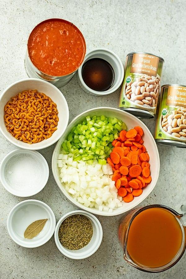 Ingredients to make vegan pasta fagioli.