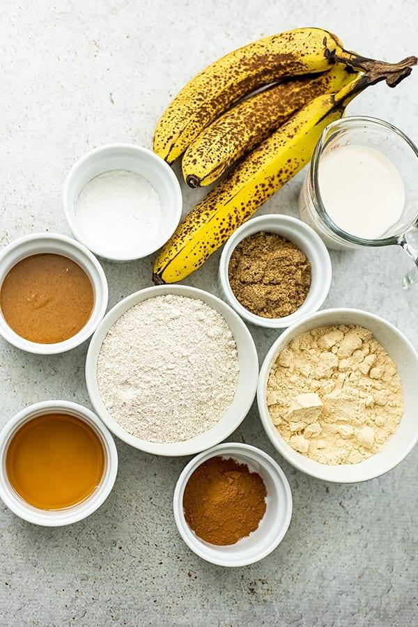 Ingredients to make vegan protein bananan bread.