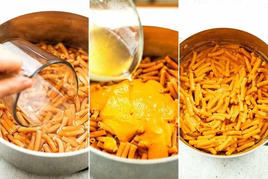 Steps to make vegan roasted red pepper pasta.
