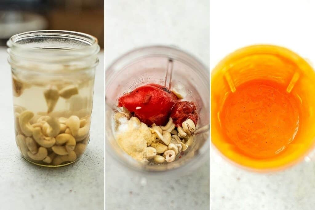 Steps to make creamy roasted red pepper sauce.