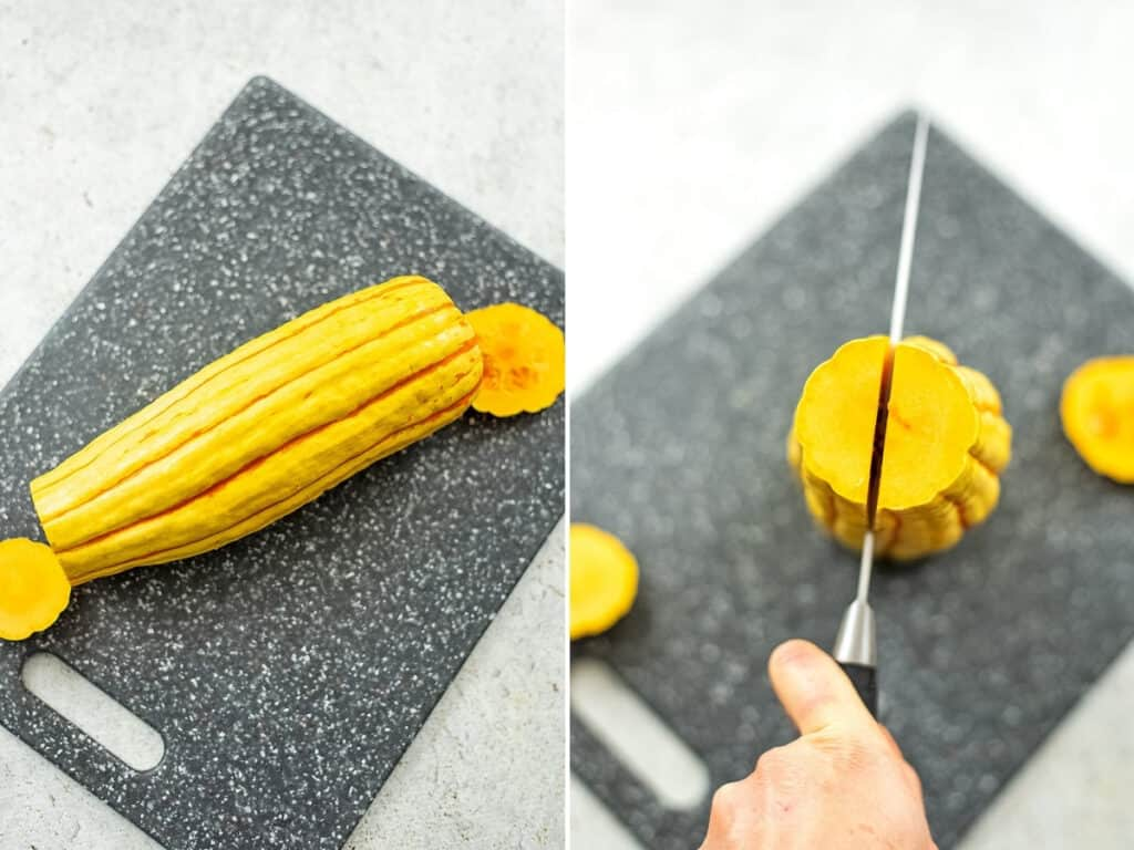 Steps 1 and 2 on how to cut a delicata squash.