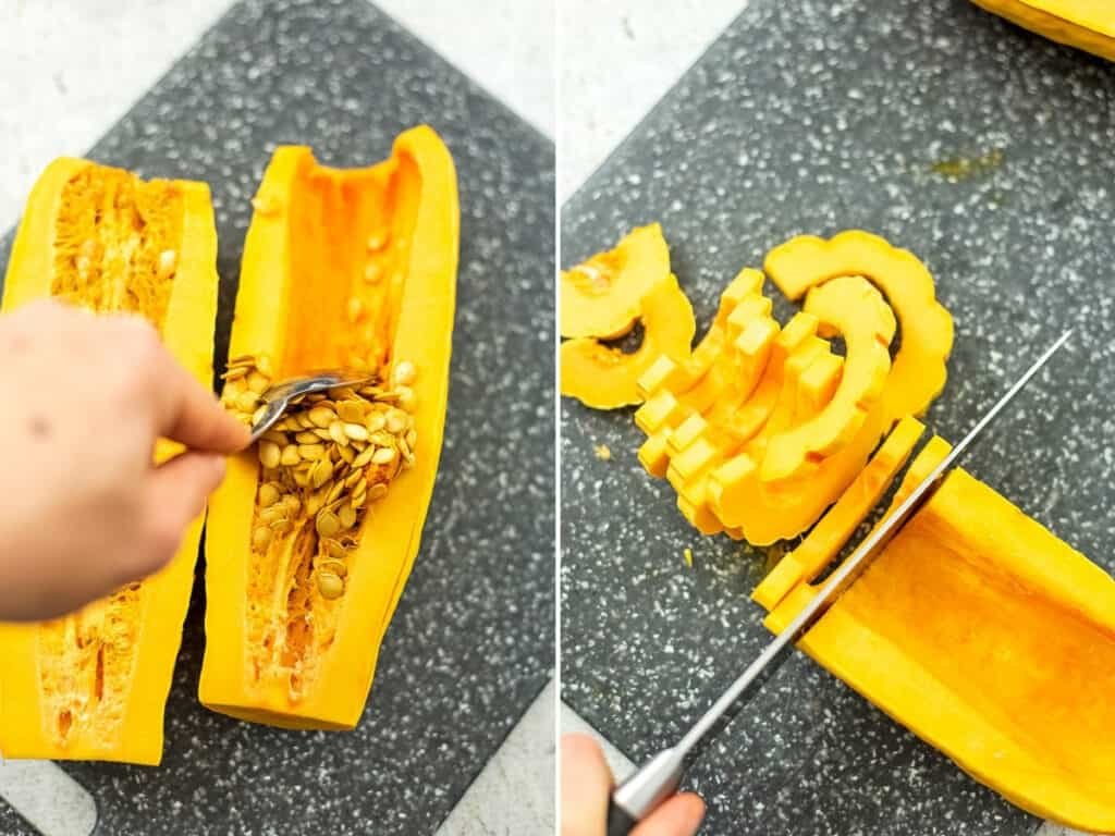 Steps on how to remove seeds and cut the delicata squash.