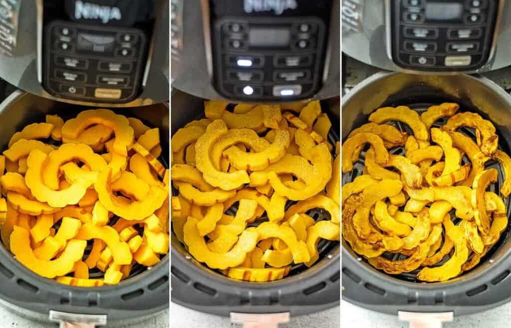 Steps on how to cook delicata squash in the air fryer.