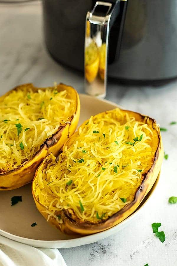 Air fryer spaghetti squash after cooking.