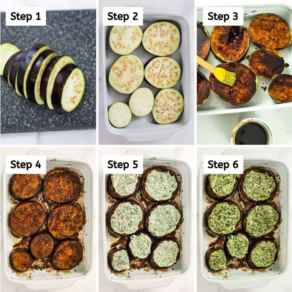 Steps on how to make roasted balsamic eggplant.