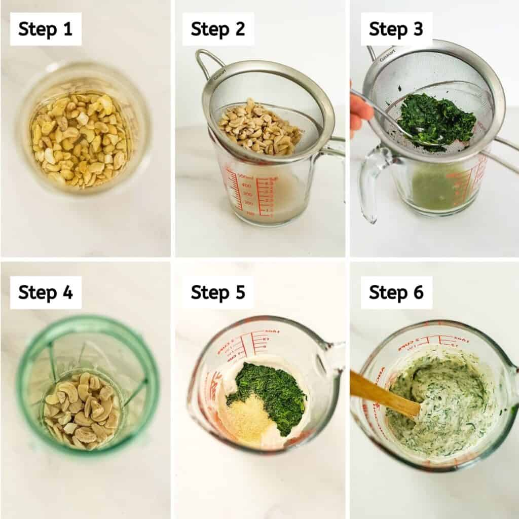 Steps on how to make creamy spinach topping.
