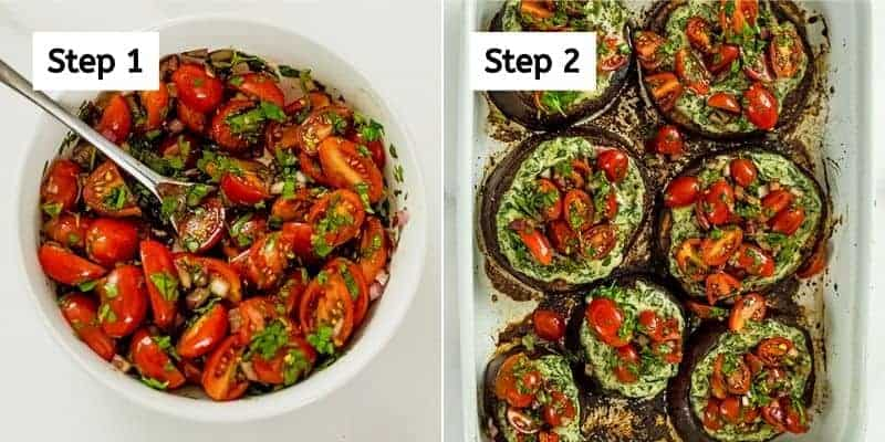 Steps on how to make tomato salad topping.