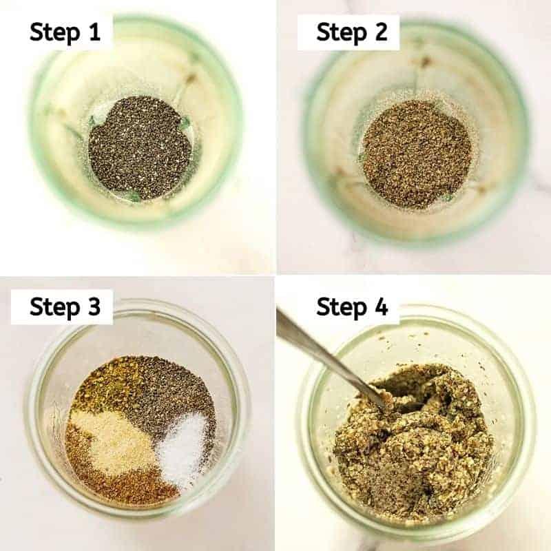 Steps 1-4 of hemp almond flax crackers.