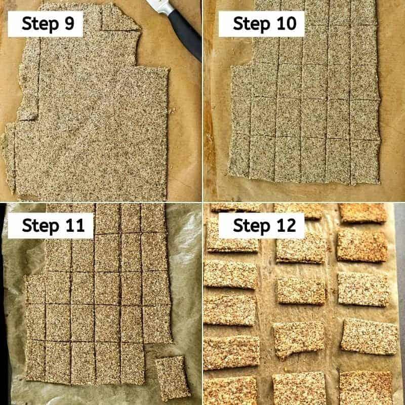 Steps 9-12 of hemp almond flax crackers.