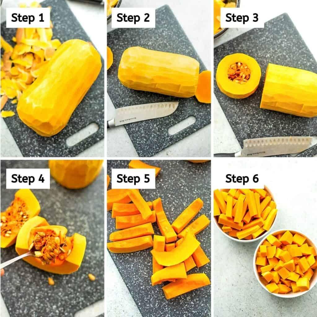 Steps on how to peel and cut butternut squash.