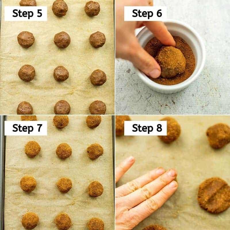 Steps 5-8 to make paleo molasses cookies.