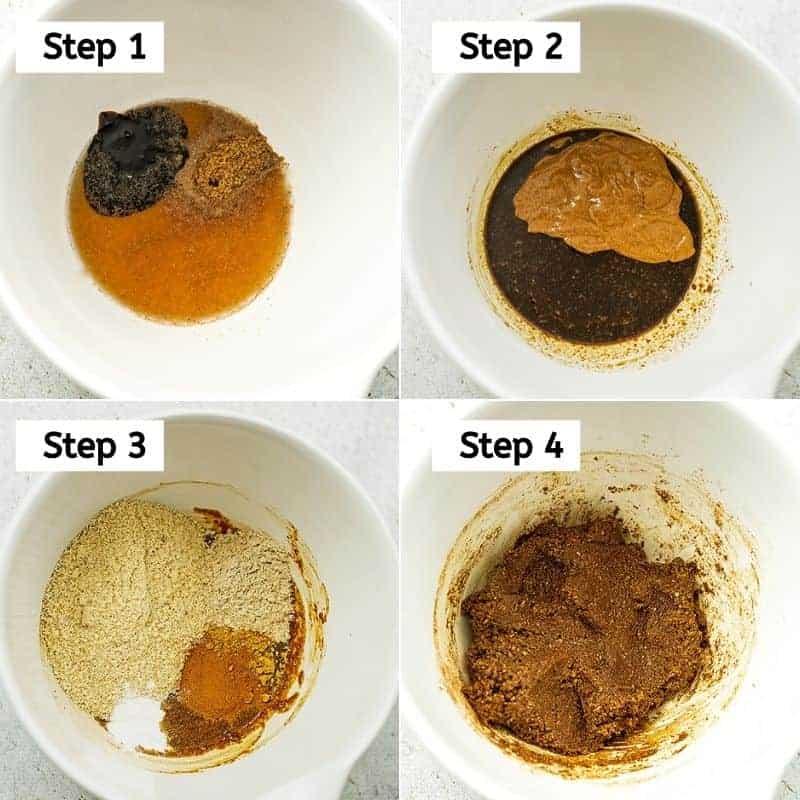 Steps 1-4 to make paleo molasses cookies.