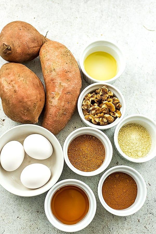 Ingredients for paleo sweet potato casserole.