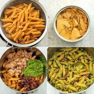 Steps to make pesto tuna pasta.