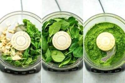 Steps to make spinach cashew pesto.