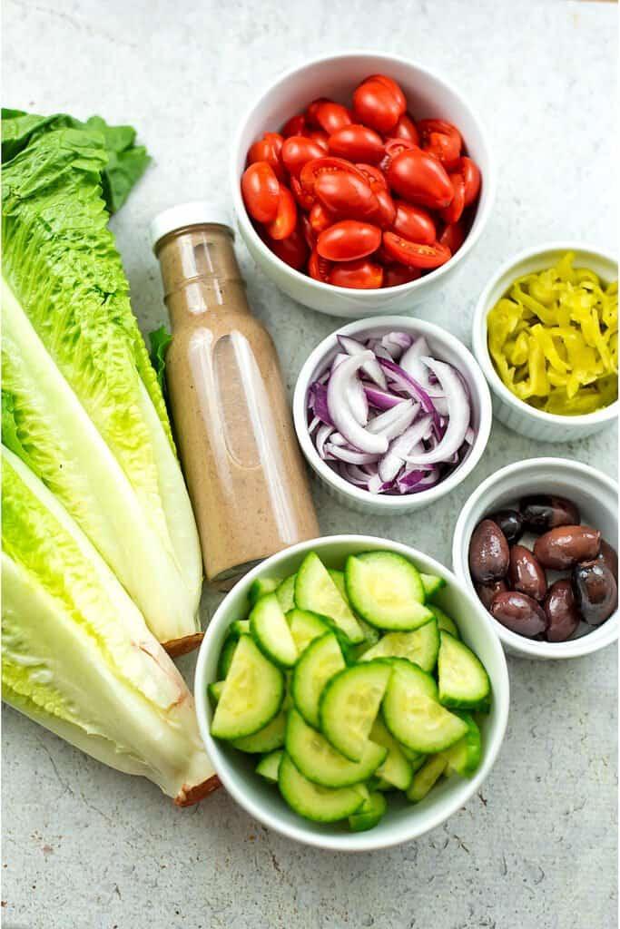 Ingredients for greek salad.