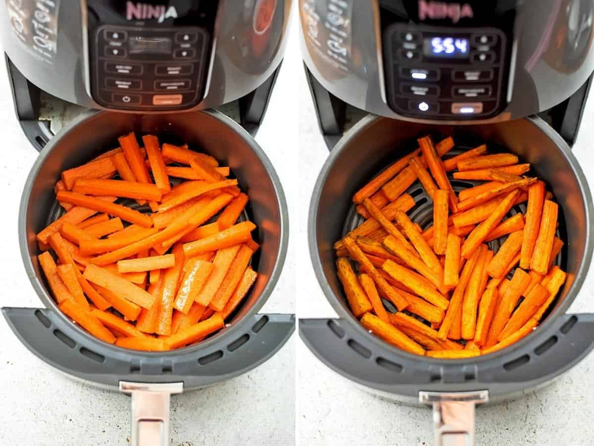 Carrot fries before cooking and after cooking 9 minutes.