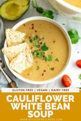 Mexican cauliflower white bean soup with tortilla chips and cilantro on top.