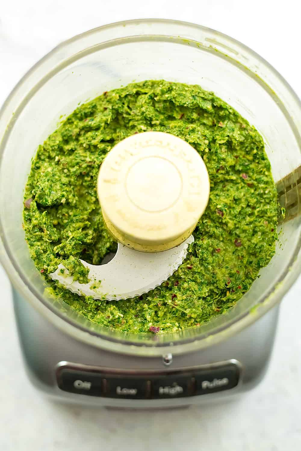 Chimichurri sauce after blending in the food processor.
