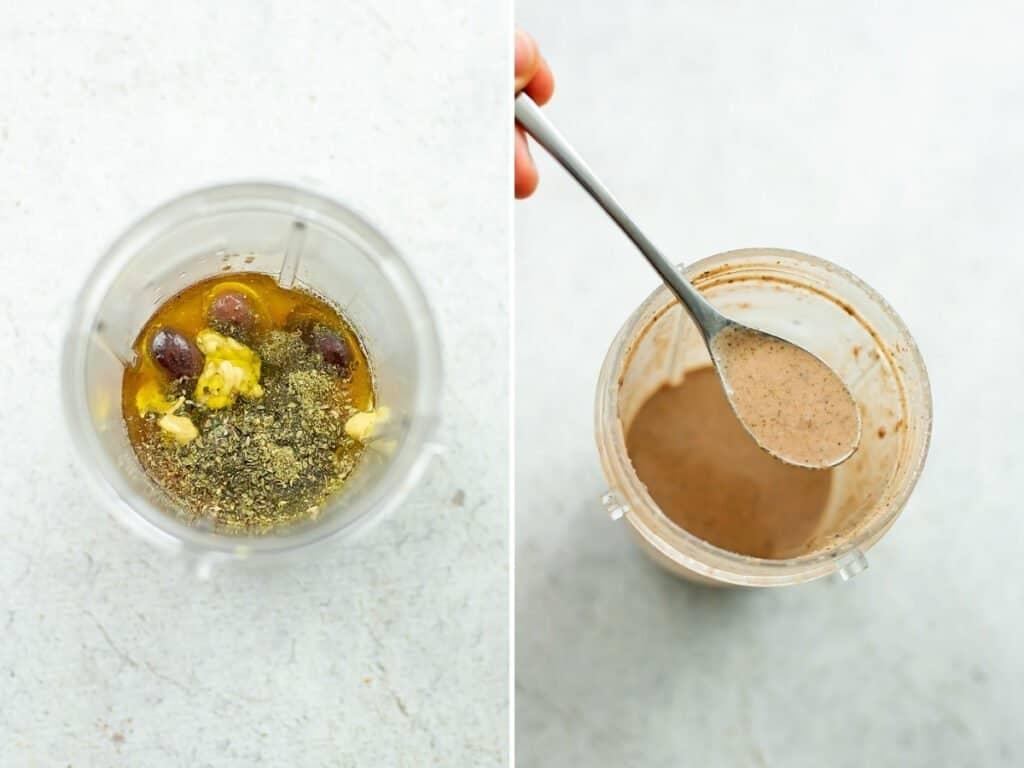 Kalamata olive dressing before and after blending.