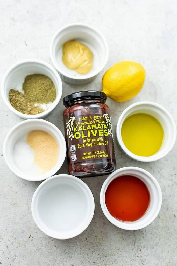 Ingredients for kalamata olive dressing.