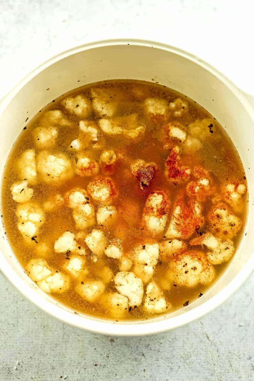 Mexican cauliflower white bean soup before simmering.