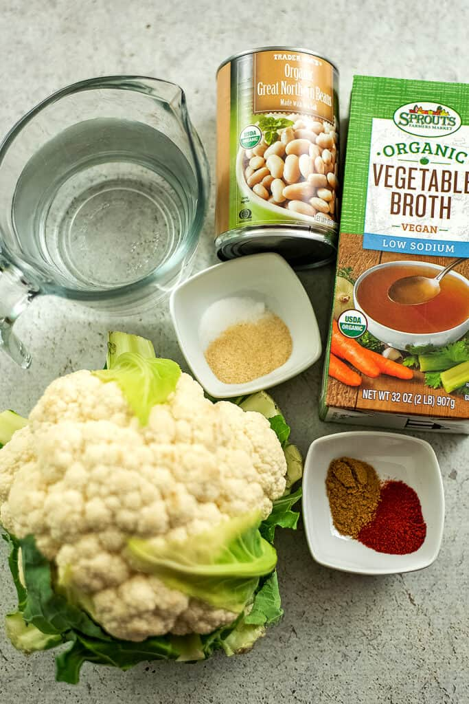 Ingredients to make Mexican cauliflower white bean soup.