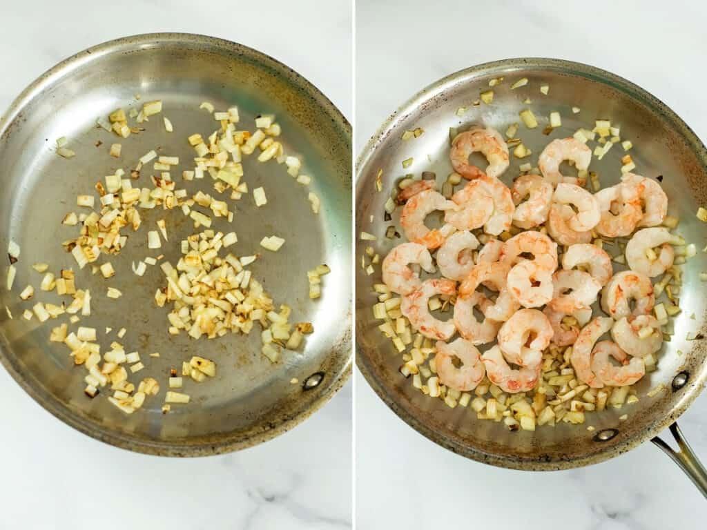 Steps 1 and 2 to make sun dried tomato shrimp.