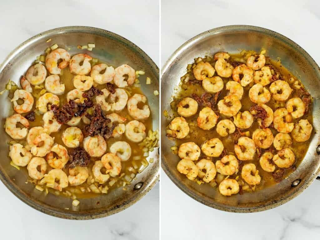 Steps 3 and 4 to make sun dried tomato shrimp.