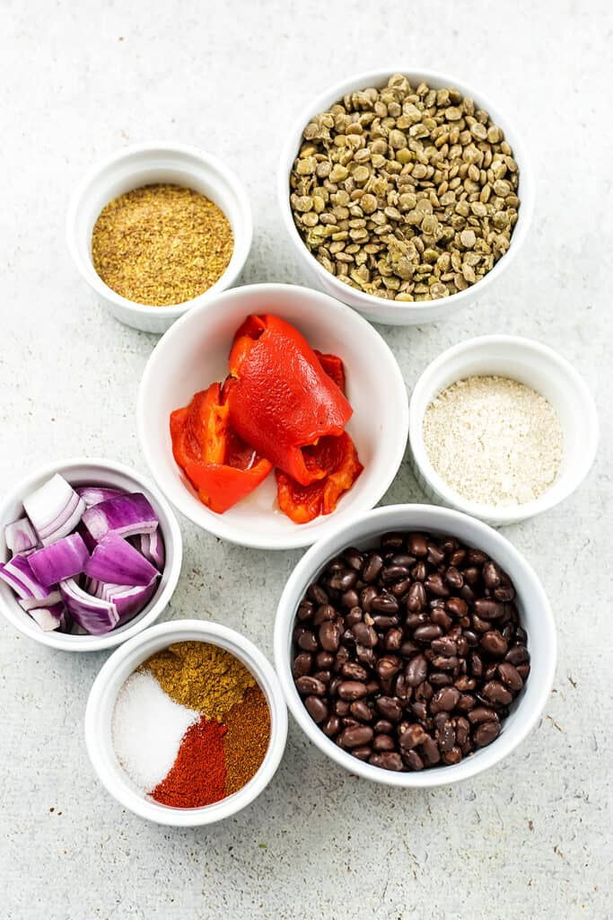 Ingredients to make lentil black bean burgers.