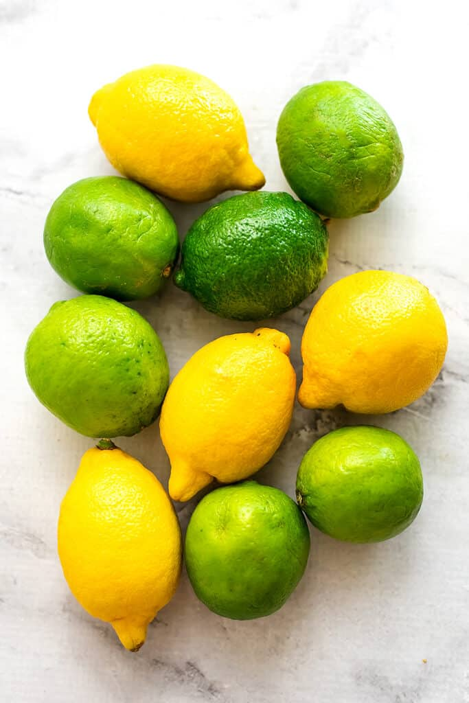 Lemons and limes in a group.