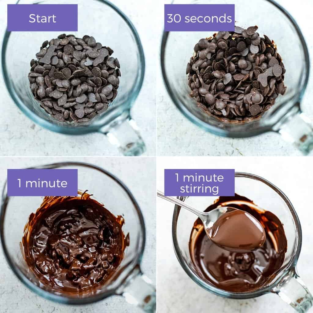 Steps to melting chocolate in the microwave.