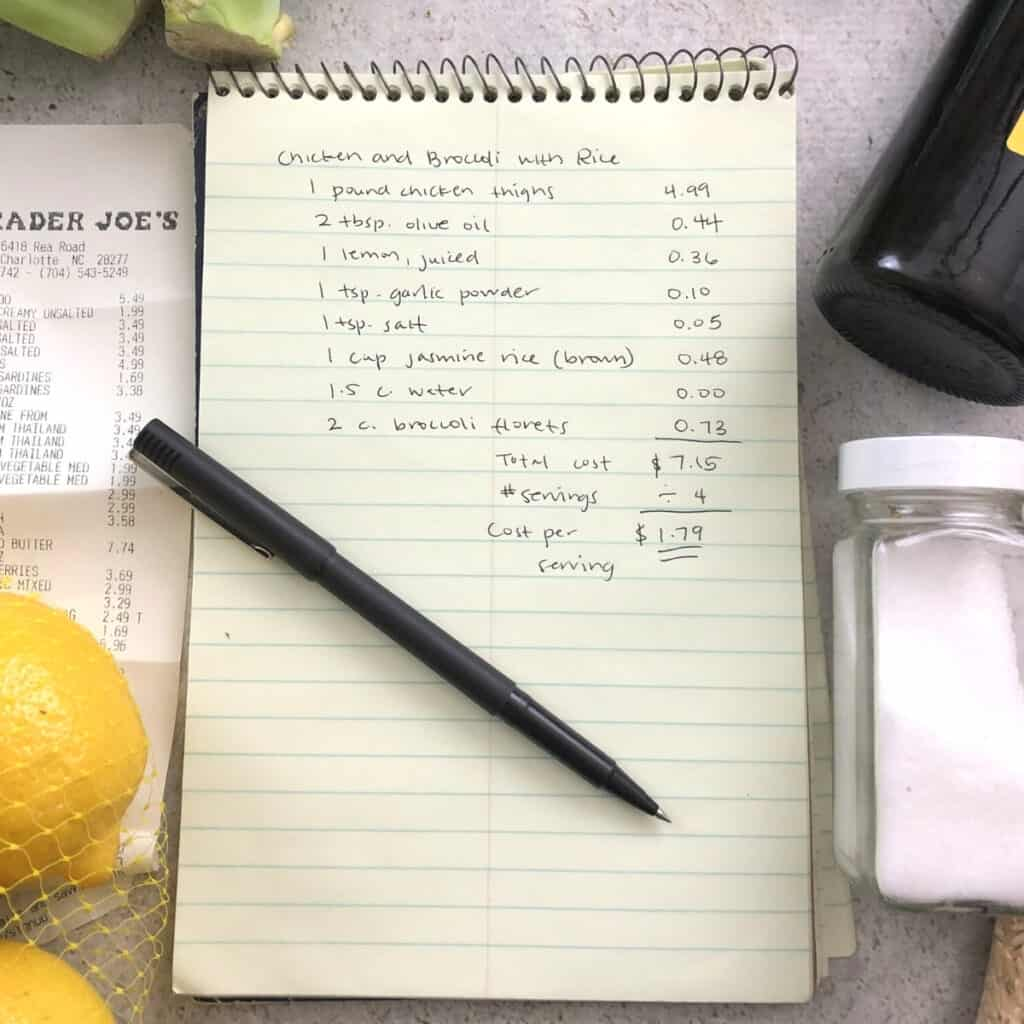 Note pad and pen with recipe cost written down.