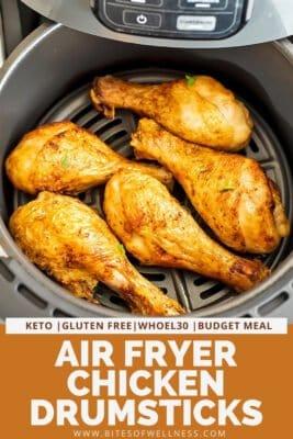 Crispy chicken drumsticks in the air fryer.