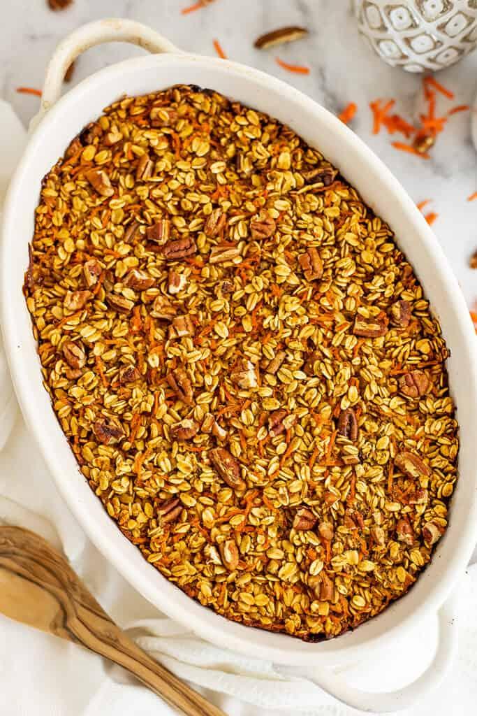 Baking pan full of baked carrot cake oatmeal