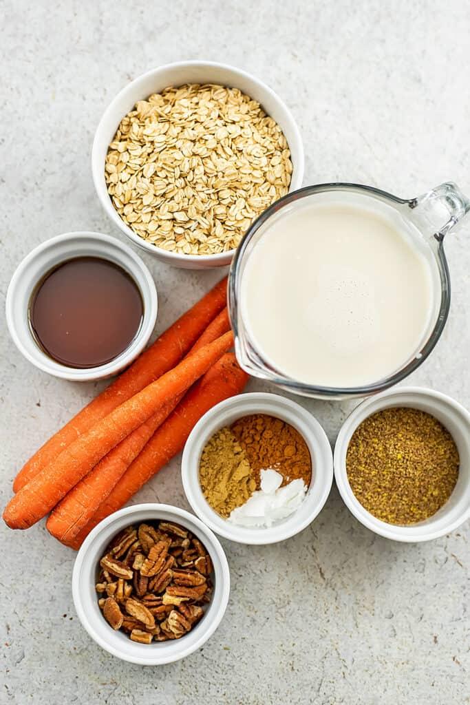 Ingredients to make carrot cake oatmeal bake.