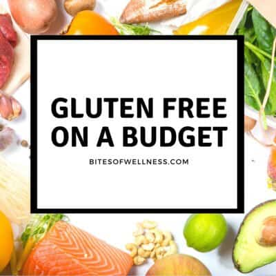 Groceries on a table, graphic for gluten free budget.