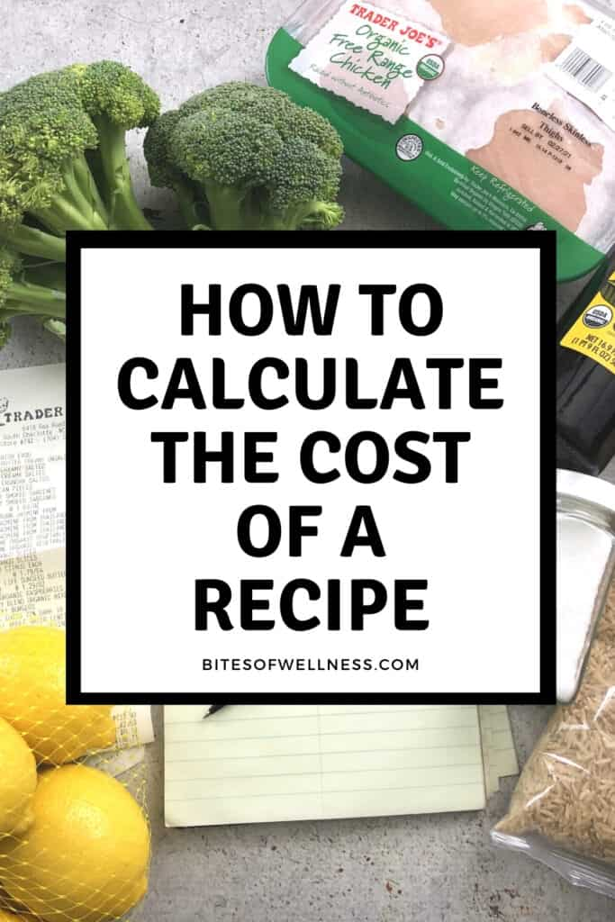Groceries around a note pad to calculate recipe costs.
