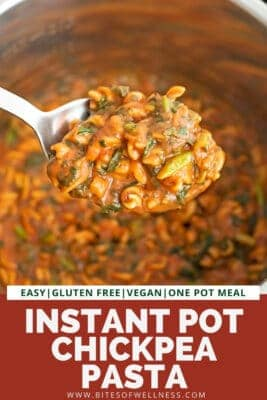 Large spoonful of instant pot chickpea pasta.