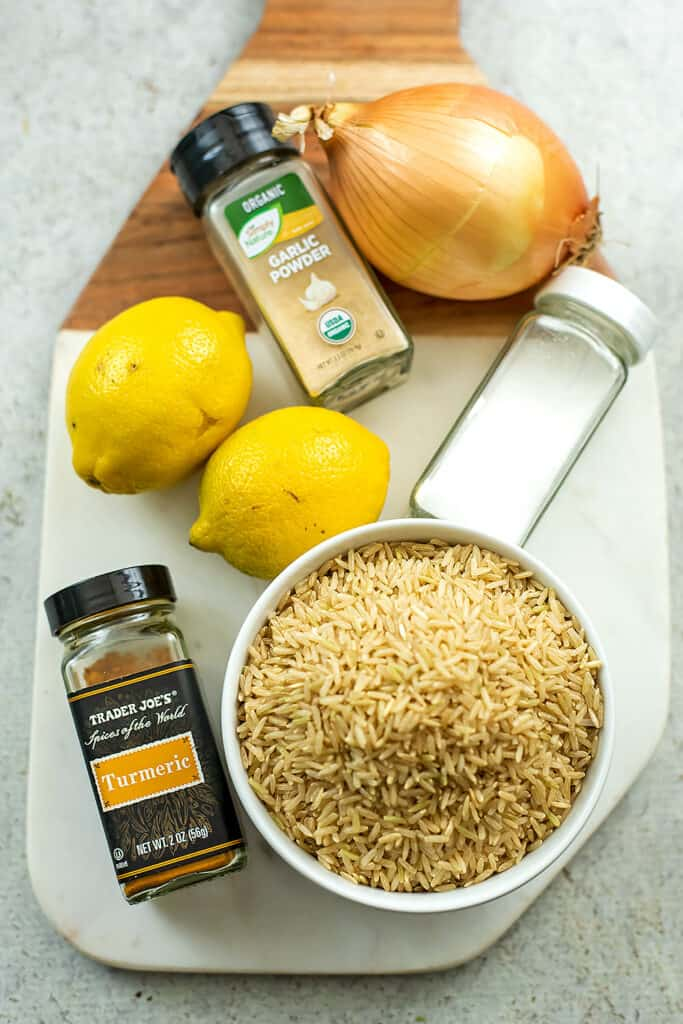 6 Ingredients to make instant pot yellow rice.