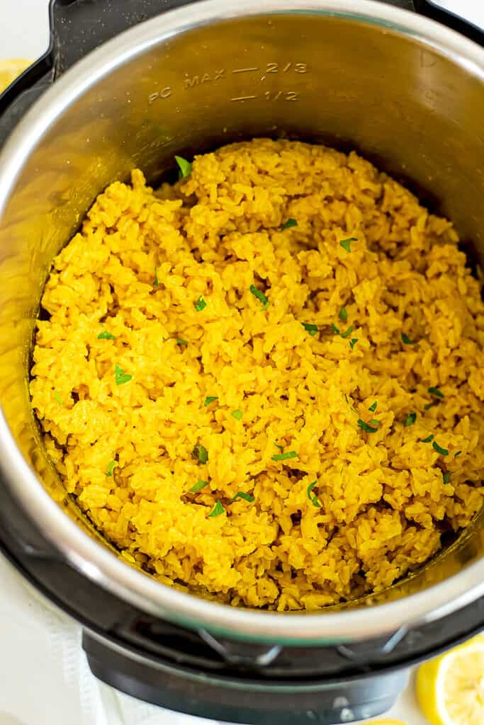 Instant pot filled with lemon turmeric jasmine rice.