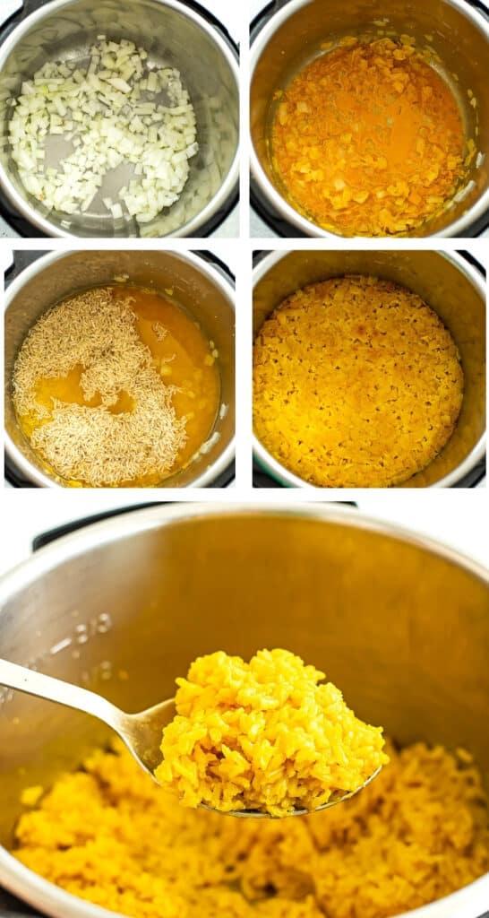 Steps to make turmeric lemon jasmine rice.