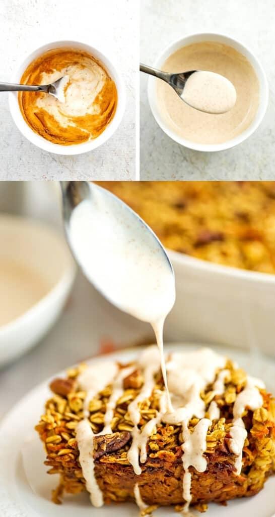 Steps to making the greek yogurt maple frosting.