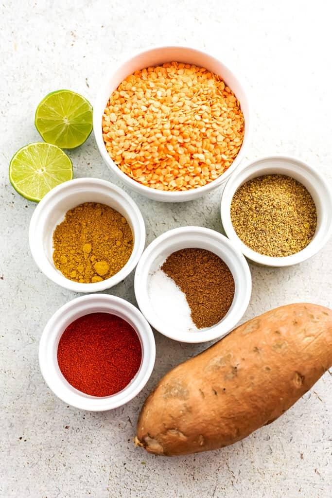 Ingredients to make sweet potato red lentil patties.