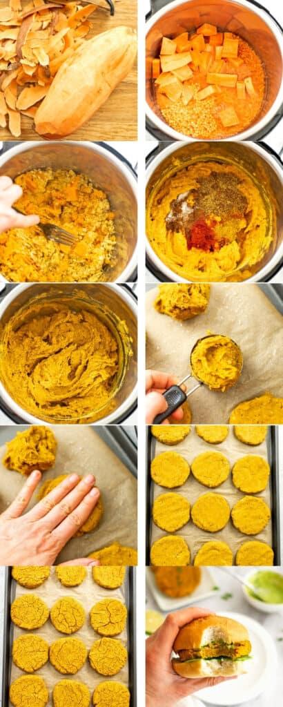 Steps on how to make sweet potato lentil patties.
