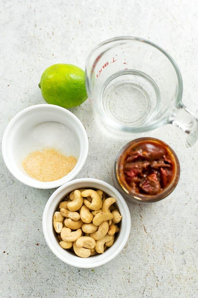 Ingredients to make vegan chipotle mayo.