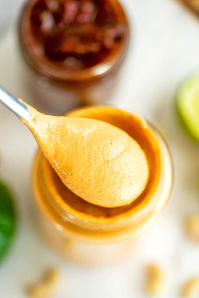 Spoonful of vegan chipotle mayonnaise.